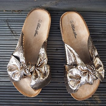 Sandal med rosett CHAMPAGNE - Train of Trend
