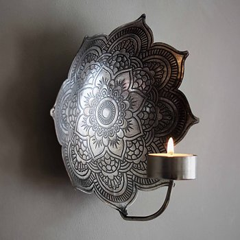 Väggljusstake Mandala Antik Silver (två storlekar) - Majas Cottage
