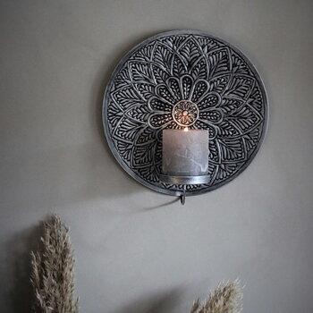 Väggljusstake Mandala Rund Smoke (två storlekar) - Majas Cottage