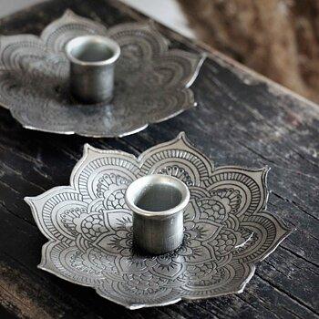 Bordsljusstake Mandala Antik Silver 12cm - Majas Cottage