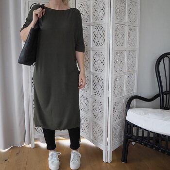 Tunnstickad klänning/tunika One Size GRÖN - Stajl Agenturer