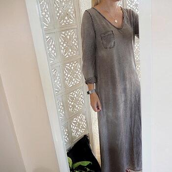 Långärmad t-shirt-klänning Brun One Size - Stajl Agenturer