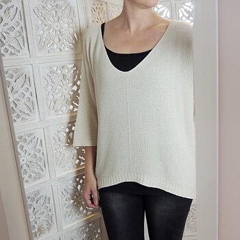 Tunnstickad  tröja One Size Offwhite - Stajl Agenturer