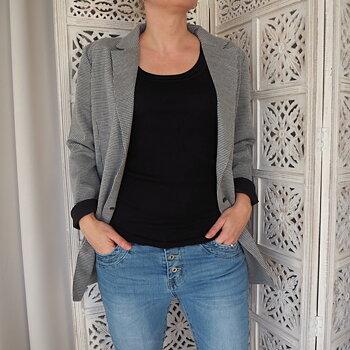 Check Blazer Jacket SVART/VIT (flera storlekar) - Saint Tropez
