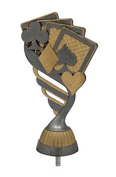 Kortspel Statyett Antik/silver - ca 165 mm - Sockel & Skylt med text ingår i priset