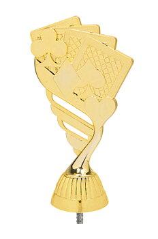 Kortspel Statyett Guld - ca 165 mm - Sockel & Skylt med text ingår i priset