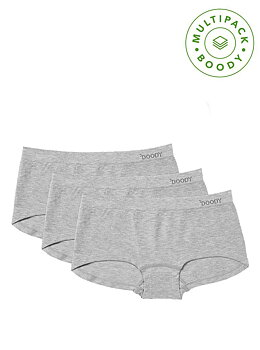 Women's Boyleg Briefs 3-pack, Light Grey, Underwear, Boody Bamboo Eco Wear, Ekologisk