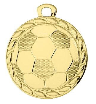 Fotbollsmedalj präglad Neutral 32 mm - Pris inklusive medaljband och valfri text på baksidan