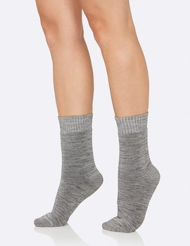 Women's Crew Boot Socks, Grey, Boody Bamboo Eco Wear, Ekologisk - One Size