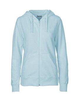 Ladies zip Hoodie, Light Blue, Neutral, Fairtrade & EKO (Ny färg 2020)