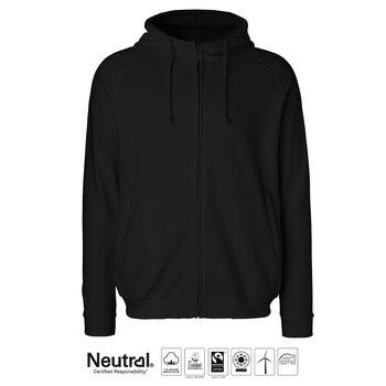 Unisex Hoodie with Hidden zip, Black, Neutral, Fairtrade & EKO