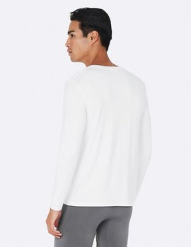 Men's Loong Sleeve Crew Neck T-shirt, White, Boody Bamboo Eco Wear, Ekologisk