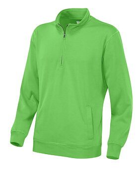 Sweatshirt Cottover med kort zip, Unisex, Grön, Fairtrade & EKO