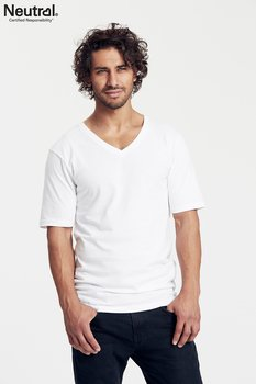 Mens Deep V-neck T-shirt, White, Neutral, Fairtrade & EKO
