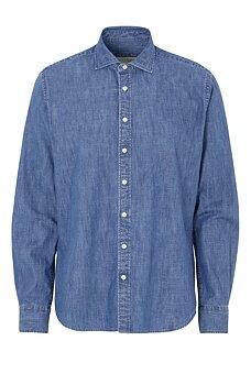 Jeansskjorta Slim Fit långärmad, Cottover, Herr, Denim, Fairtrade, EKO & GOTS