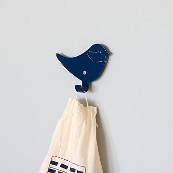 Väggkrok fågel blå