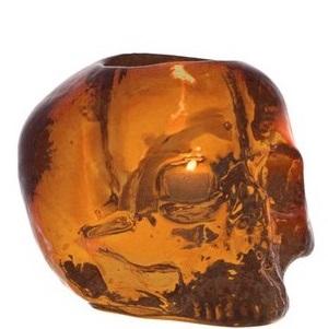 Still Life Votive Orange Skull - Kosta Boda