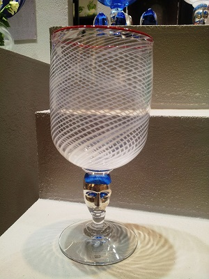 Red Rim Brains White Pokal Cup - Kosta Boda