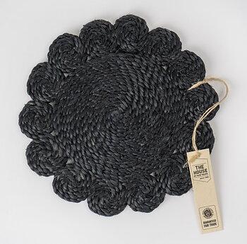 Underlägg i jute Blomma svart