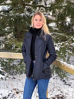 Sandra Antikbrun -  Dam klassisk skinnjacka längre modell.