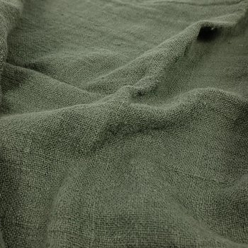 Fluffy  linen fabric - military green - 6313SH