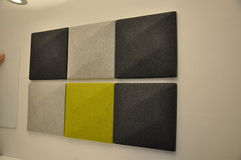 Package of sound absorbers for wall including suspension