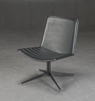 Swivel lounge chair in black leather