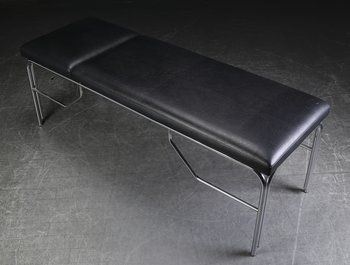Examination bed in black leather with chromed base - 195 cm