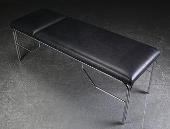 Undersökningsbrits i svart läder med kromad ställning - 195 cm