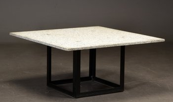 Coffee table with granite table top and steel frame - 100 x 100 cm