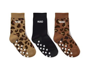 3-PACK NAME  SOCKS  -  LEO GOLD/BLACK/ LEO BROWN RED