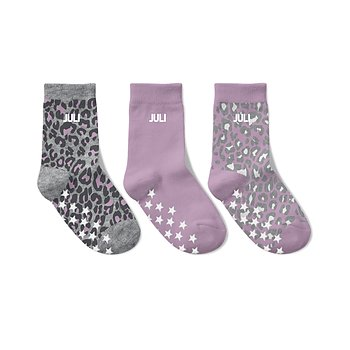 3-PACK NAME  SOCKS - LEOPARD GREY/PINK