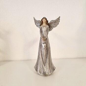 Ängel Silver med hjärta, 24 cm