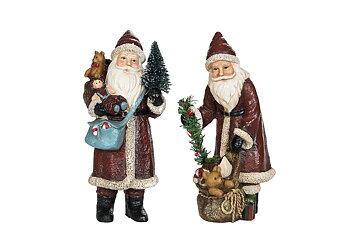 Tomte med Julklappar, blå väska 9x20 cm