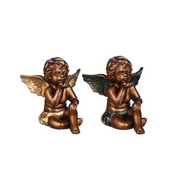 Ängel Alexander gyllenbrun 14 cm, gröna vingar