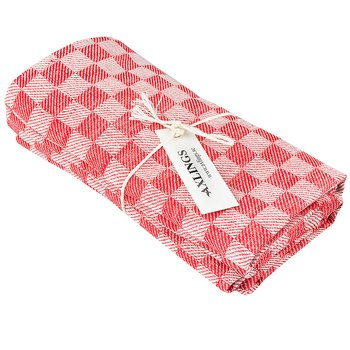 Linnehandduk Schack röd-vit 2-pack