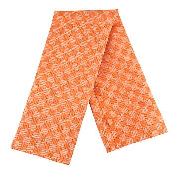 Linnehandduk Schack orange-vit 2-pack