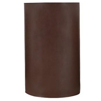 Papperskorg i äkta läder Mörbrun