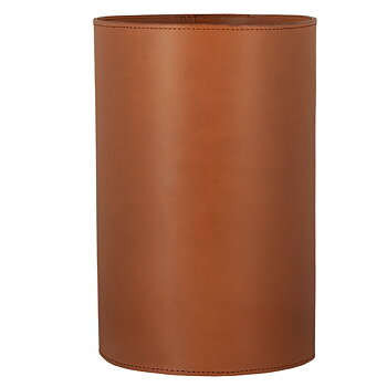 Papperskorg i äkta läder cognac