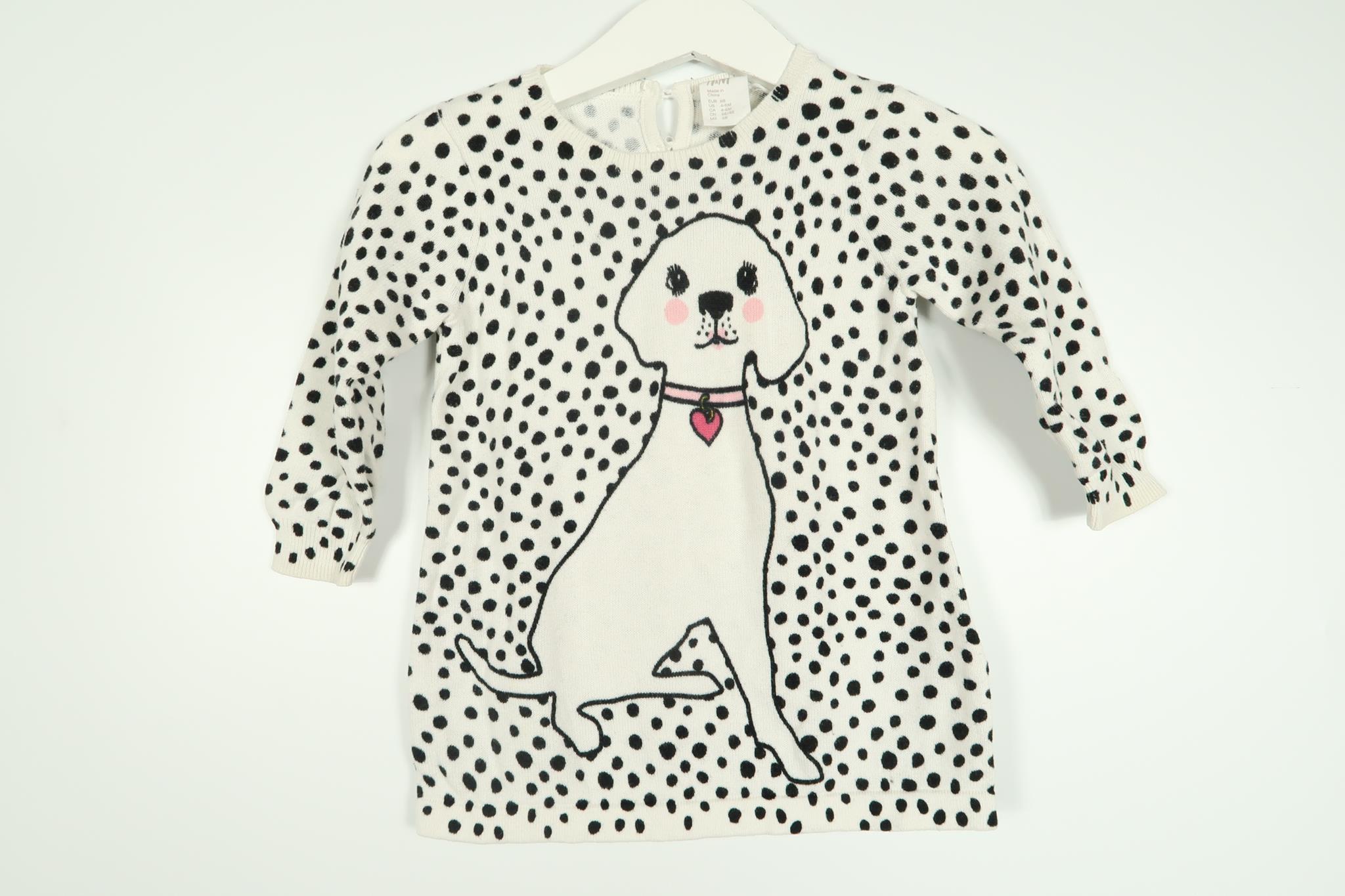 Prickig långärmad klänning med en hund från H&M i storlek 68