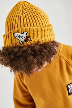 MINIKID - Hat ribbed yellow rocket