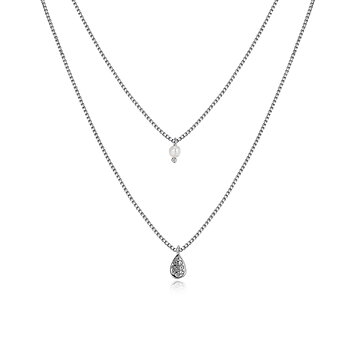 Eve double layer necklace, Silver