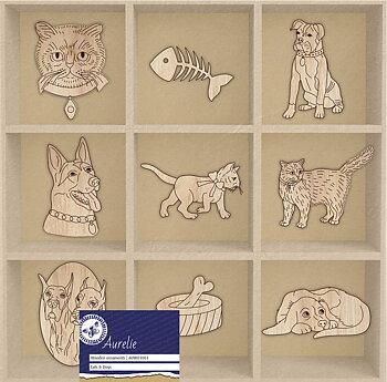 Katter och hundar - träfigurer, 9 motiv, Aurelie