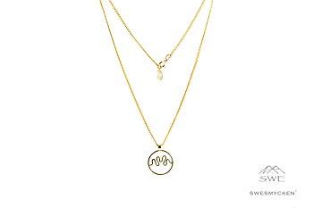 Hjärnvåg av kärlek - Halsband 45 cm.  18k guldpl-silver