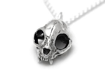 Katt Skalle Halsband, Rock Smycke i Silver