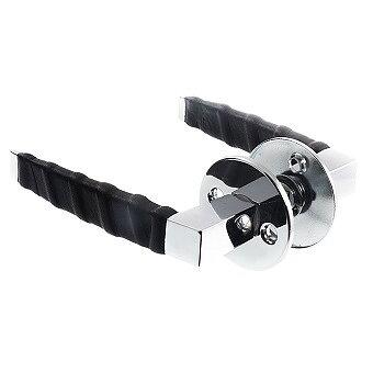Dörrtrycke blank krom/svart läderlindat exkl. nyckelskyltar