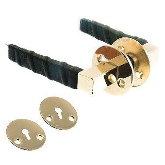 Dörrtrycke blank mäss/grön läderlindat inkl. nyckelskyltar
