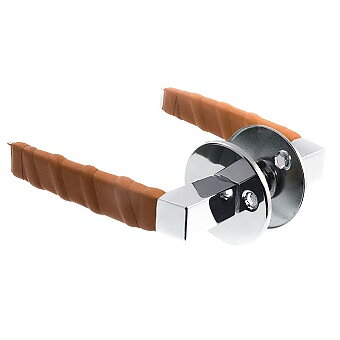 Dörrtrycke blank krom/cognac läderlindat inkl. nyckelskyltar