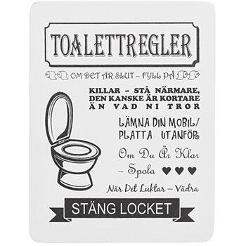 Tavla i trä Toalettregler