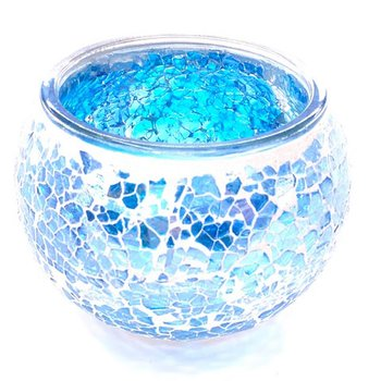 Ljuslykta i mosaik Blå